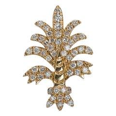 Yvonne Leon's Earring Lily Flower in 18 Karat Yellow Gold with Diamonds