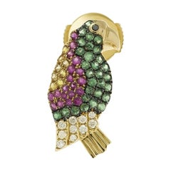 Yvonne leon's Pair of Earring Parrot in 18K Yellow Gold with Diamonds Tsavorites