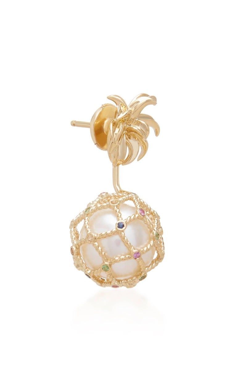 Yvonne Leon's Earring Pineapple in 18 Karat Gold Pearl and Multicolored Sapphire In New Condition For Sale In Paris, FR
