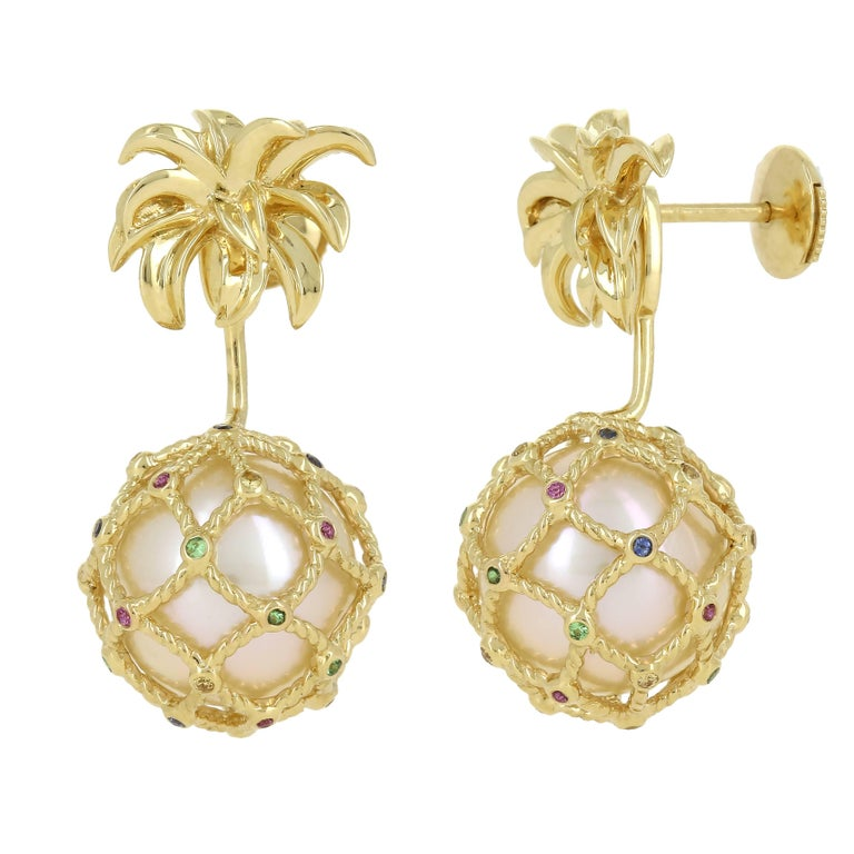 Yvonne Leon's Earring Pineapple in 18 Karat Gold Pearl and Multicolored Sapphire