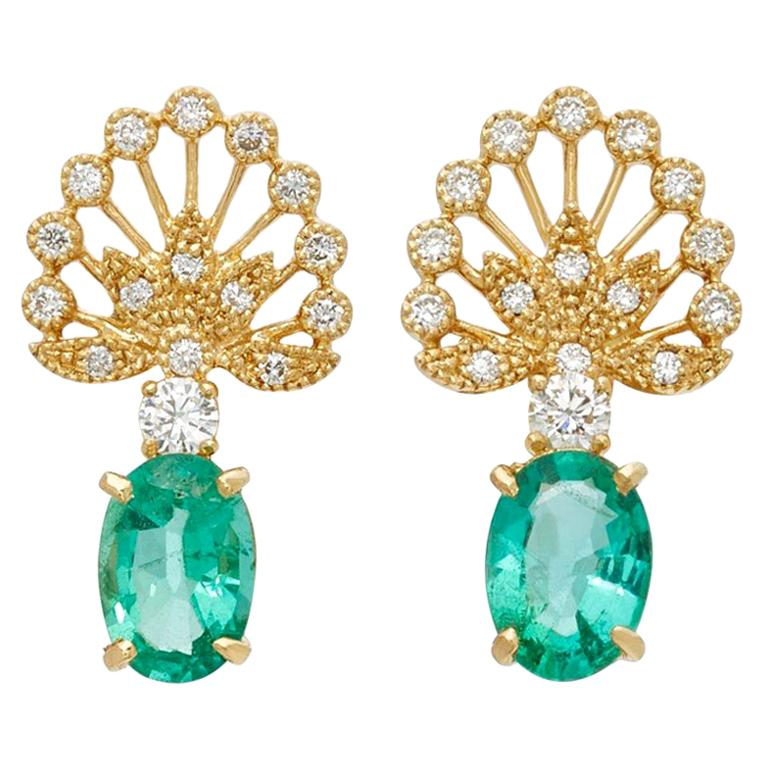 Yvonne Leon's Earrings in Yellow Gold 18 Carat with Emeralds and Diamonds For Sale