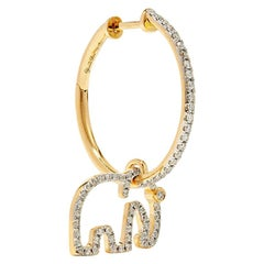 Yvonne Leon's Elephant Hoop Earring in 18 Carat Yellow Gold Diamonds