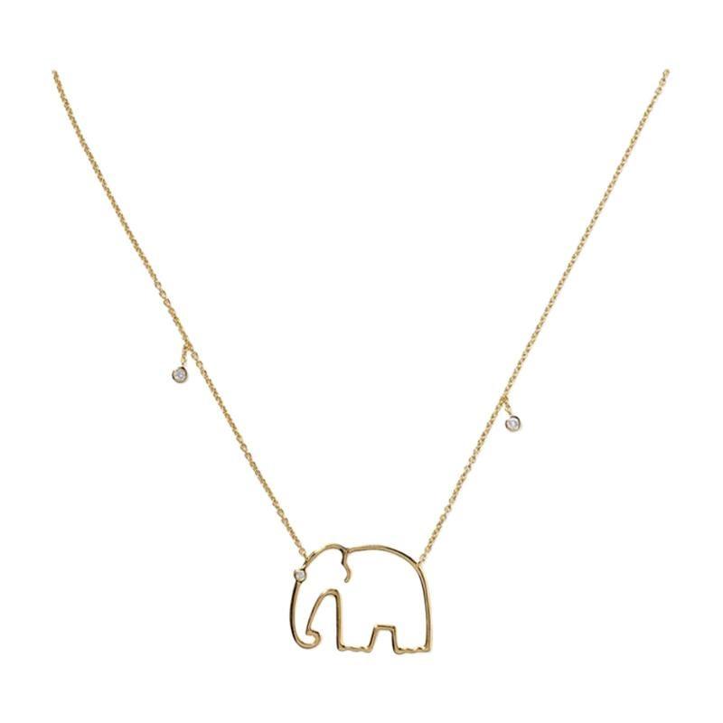 Yvonne Leon's Elephant Necklace in 18 Karat Yellow Gold with Diamonds
