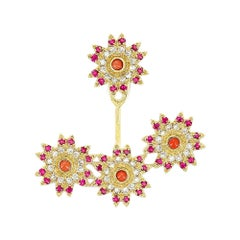 Yvonne Leon's Flower Earring in 18 Karat Gold with Diamonds, Ruby and Corals