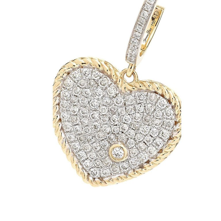 Yvonne Leon's Hoop and Heart Earring in 18 Carat Yellow Gold and Diamonds In New Condition For Sale In Paris, FR