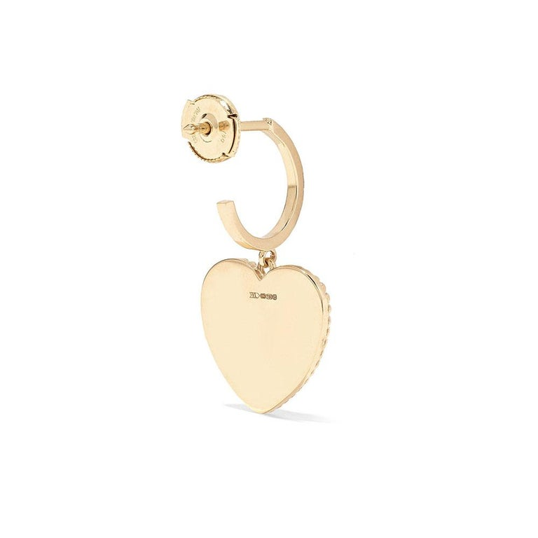 Women's Yvonne Leon's Hoop and Heart Earring in 18 Carat Yellow Gold and Diamonds For Sale