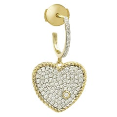 Yvonne Leon's Hoop and Heart Earring in 18 Carat Yellow Gold and Diamonds