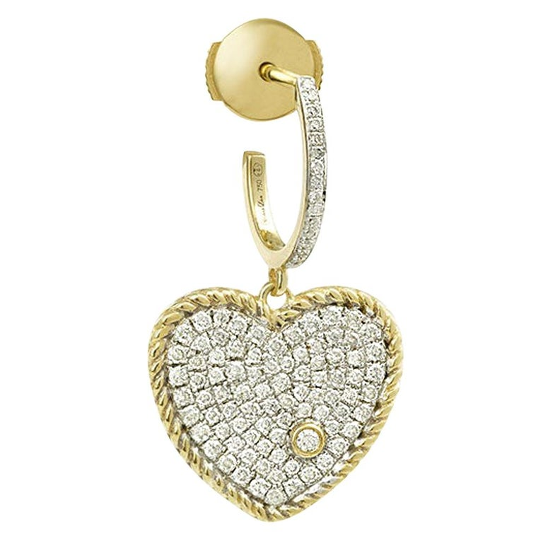 Yvonne Leon's Hoop and Heart Earring in 18 Carat Yellow Gold and Diamonds For Sale