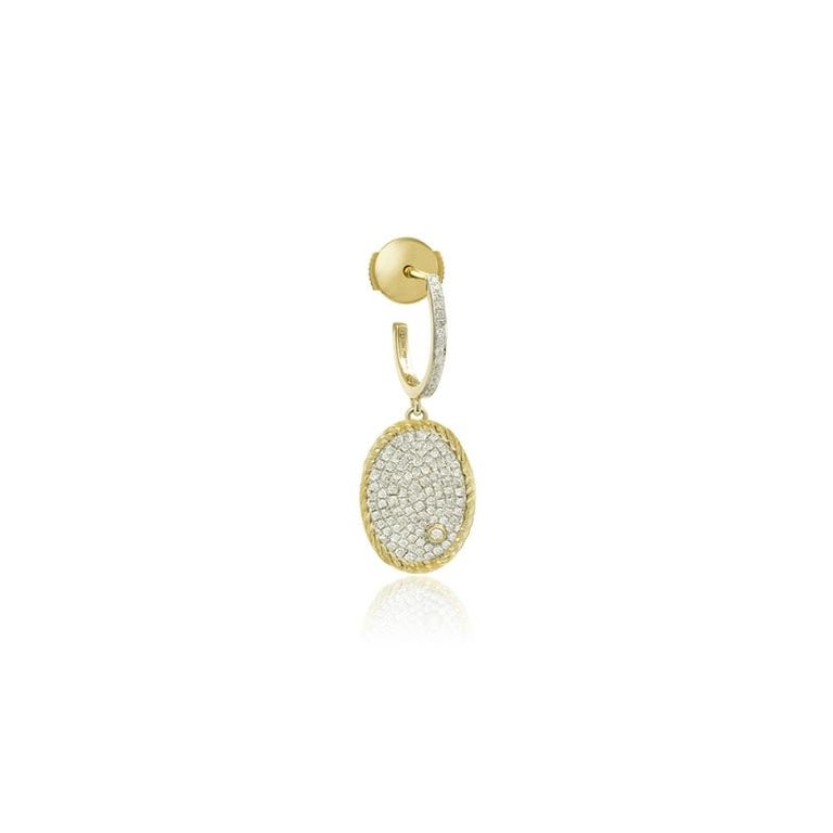 Yvonne Leon's Hoop Earring Oval Diamonds in 18 Carat Yellow Gold In New Condition For Sale In Paris, FR