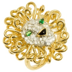 Yvonne Leon's Lion Ring in 18 Karat Yellow Gold, Diamonds and Tsavorites