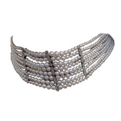 Yvonne Leon's Maxi Chocker Necklace in White Gold 18 Carat with Diamonds