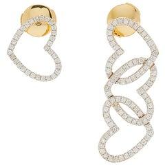 Yvonne Leon's Mismatch Heart Earrings in 18 Karat Yellow Gold with Diamonds