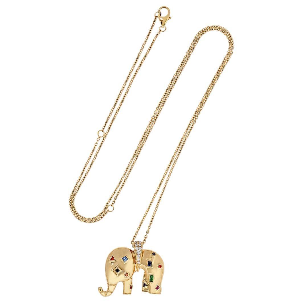 Yvonne Leon's Necklace Elephant in 18 Karat Yellow Gold Diamonds