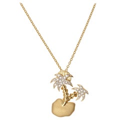 Yvonne Leon's Necklace Floating Island in 18k Yellow Gold with Diamonds
