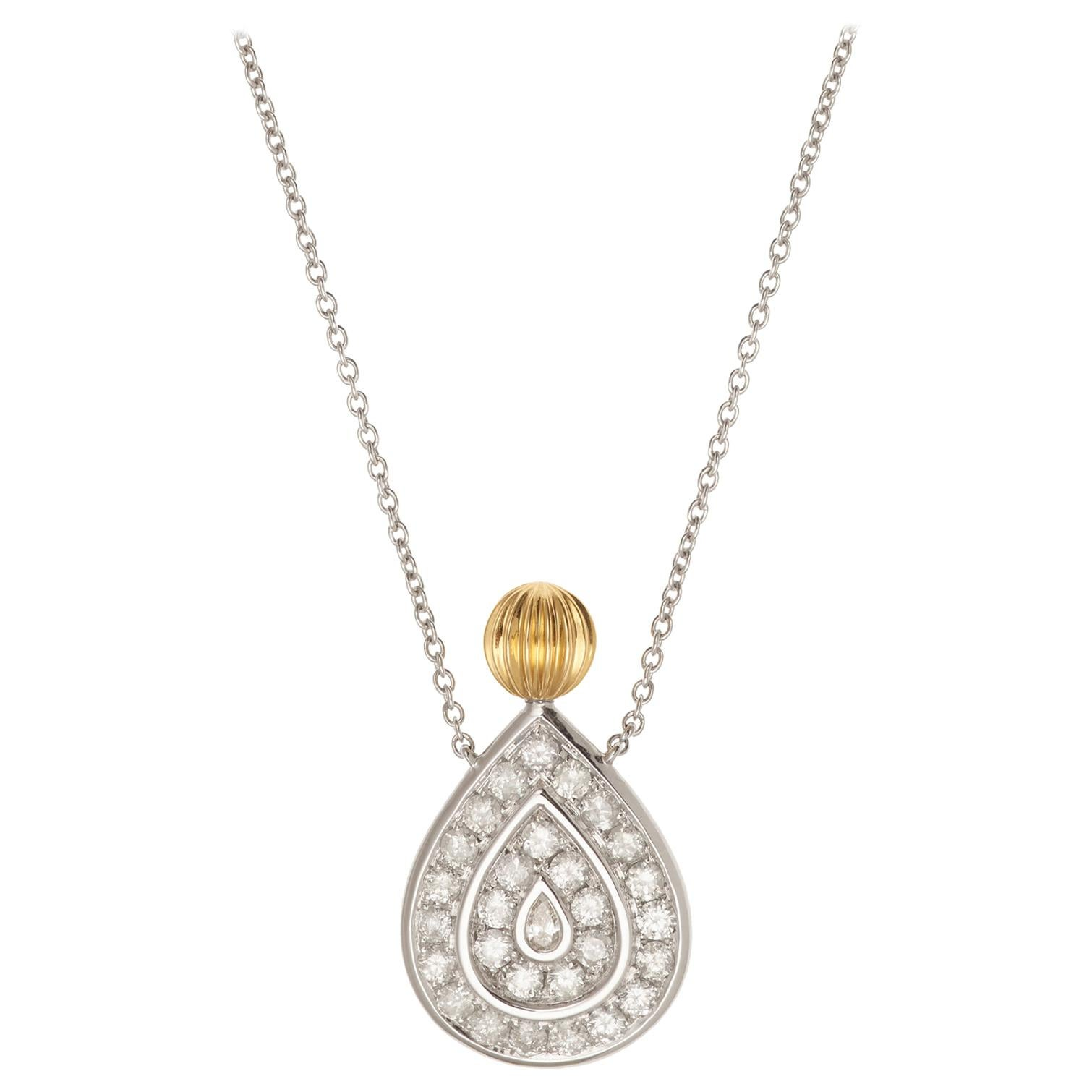 Yvonne Leon's Necklace in 18K Yellow and White Gold and Diamonds