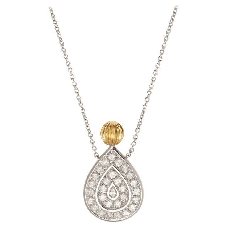 Yvonne Leon's Necklace in 18K Yellow and White Gold and Diamonds For Sale