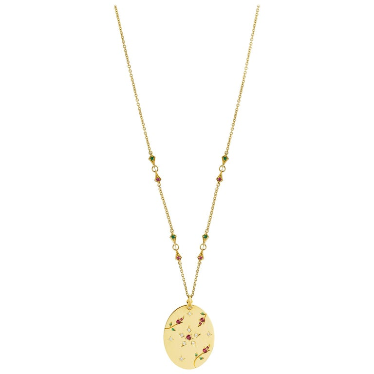 Necklace in 18 Carats Yellow Gold 14,1gr approx. Diamonds 0,12 carats approx. Ruby 0,22 carats approx. Tsavorites 0,09 carats approx. Chain: 400/410/420 MM