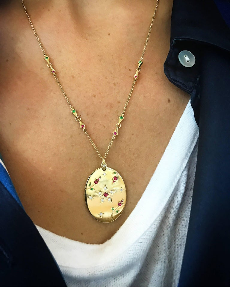 Women's or Men's Yvonne Leon's Necklace in 18k Yellow Gold with Diamonds, Ruby, and Tsavorites For Sale