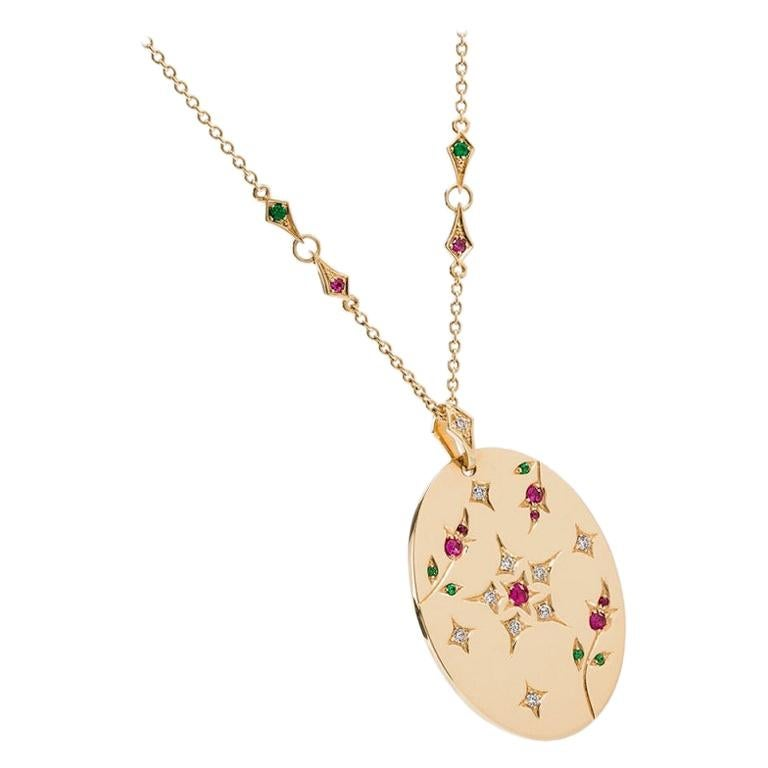 Yvonne Leon's Necklace in 18k Yellow Gold with Diamonds, Ruby, and Tsavorites For Sale
