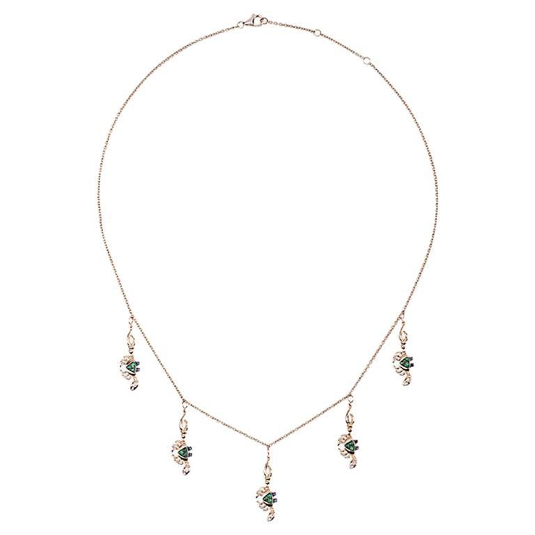 Yvonne Leon's Necklace Mini Crab in Yellow Gold 18 Carat with Tsavorites