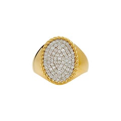 Yvonne Leon's Oval Signet Ring in 18 Carat Yellow Gold Diamonds