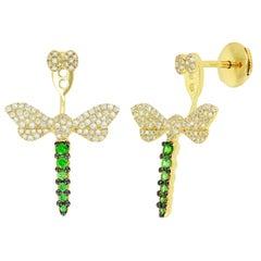 Yvonne Leon's Pair of Dragonfly Earrings in Diamonds and Tsavorites