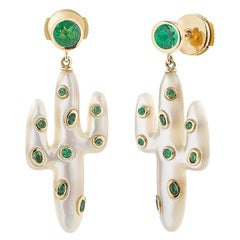 Yvonne Leon's Pair of Earring Cactus in Yellow Gold 18 Carat with Tsavorites