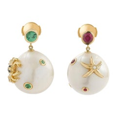 Yvonne Leon's Pair of Earrings in 18 Carat Yellow Gold Pearls Tsavorite and Ruby