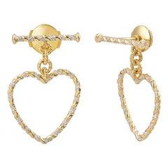 Yvonne Leon's Pair of Heart Earrings In 18 Karat Yellow Gold with Diamonds