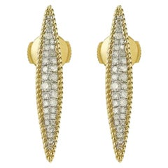 Yvonne Leon's Pair of Marquise Earrings in 18 Karat Yellow Gold and Diamonds