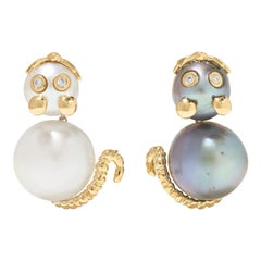Yvonne Leon's Pair of Mismatch Mouse Earrings in 18K Gold in Diamonds and Pearls