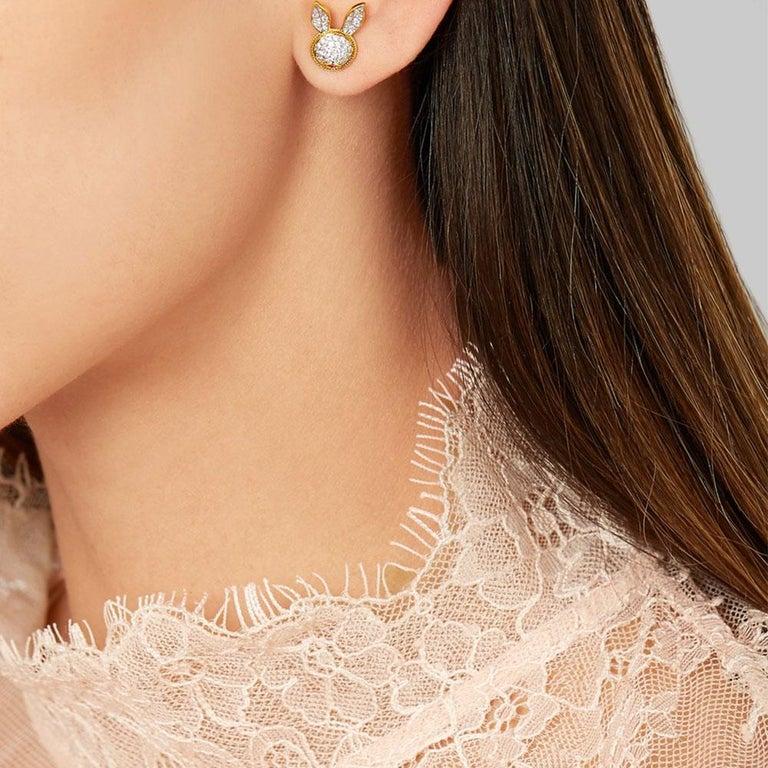 Women's or Men's Yvonne Leon's Pair of Rabbit Stud Earrings in 18 Carat Yellow Gold Diamonds For Sale