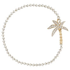 Yvonne Leon's Palm Riviere Bracelet in 18 Carat White Gold and Diamonds
