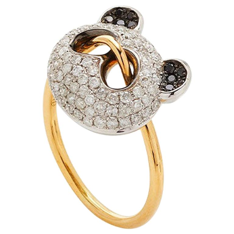 Yvonne Leon's Panda Ring in 18k Yellow Gold with Diamonds and Black Diamonds