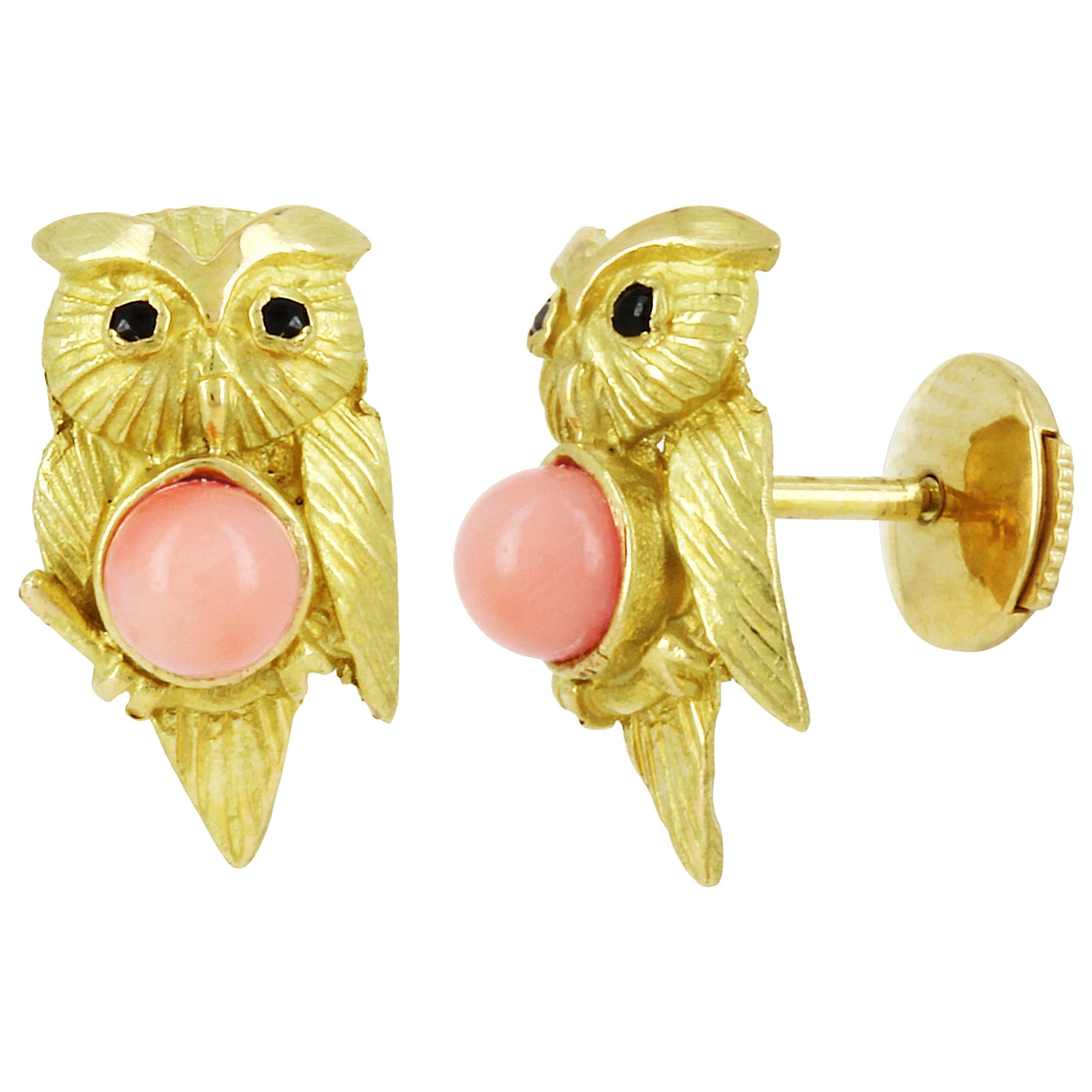 Yvonne Leon's Pari of Owl Earrings Studs in Yellow Gold 18 Carat and Corals