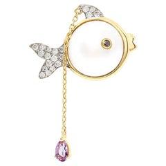 Yvonne Leon's Pearl Earring in 18 Carat Yellow Diamonds and Amethyst