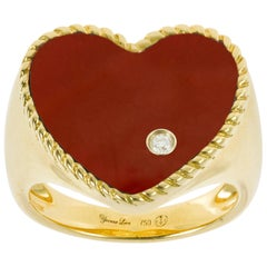Yvonne Leon's Ring Heart Shape in 18 Carat Gold and Red Agathe with Diamond