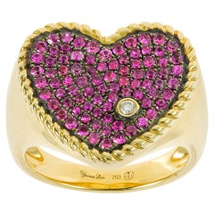 Yvonne Leon's Ring Heart Shape in 18 Karat Yellow Gold and Pink Sapphires