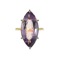 Yvonne Leon's Ring Marquise Amethyst in 9 Carat Yellow Gold with Tsavorites