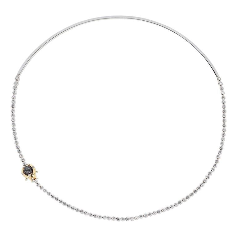 Yvonne Leon's Scarabee Necklace in 18 Carat White Gold White and Black Diamonds For Sale