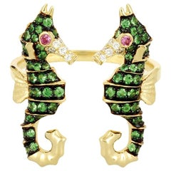 Yvonne Leon's Sea Horse Ring in 18 Karat Gold with Diamonds, Tsavorites
