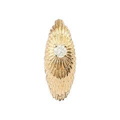 Yvonne Leon's Sea Urchin Pair of Hoops in 18 Karat Yellow Gold and Diamond