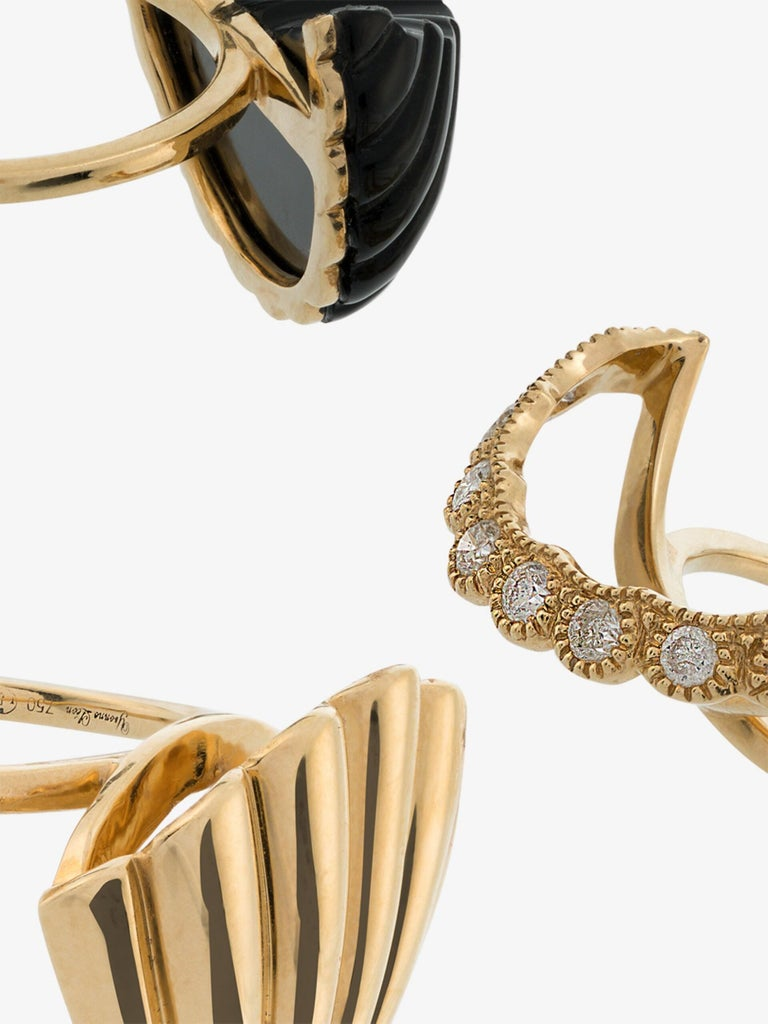 Round Cut Yvonne Leon's Set of 3 Rings Shell in 18 Karat Yellow Gold Diamonds and Onyx For Sale