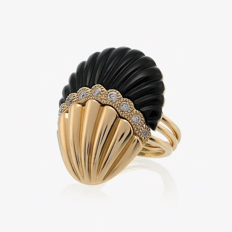 Yvonne Leon's Set of 3 Rings Shell in 18 Karat Yellow Gold Diamonds and Onyx In New Condition For Sale In Paris, FR