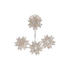 Yvonne Leon's Set of Stud and Ear-Jacket 3 Flowers Diamonds and 18 Karat Gold