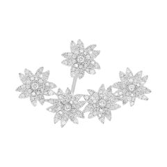 Yvonne Leon's Set of Stud and Ear-Jacket Flowers in 18 Karat Gold and Diamonds