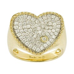 Yvonne Leon's Signet Ring in 18 Carat Yellow Gold and Diamonds