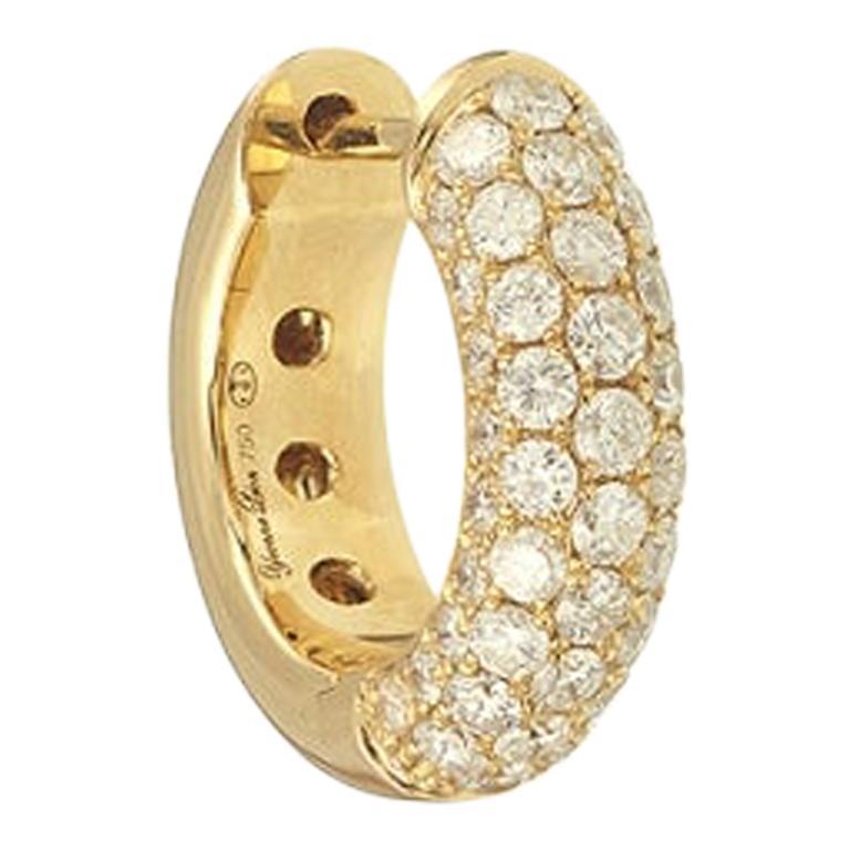 Yvonne Leon's Single Diamond Hoop in 18 Karat Yellow Gold