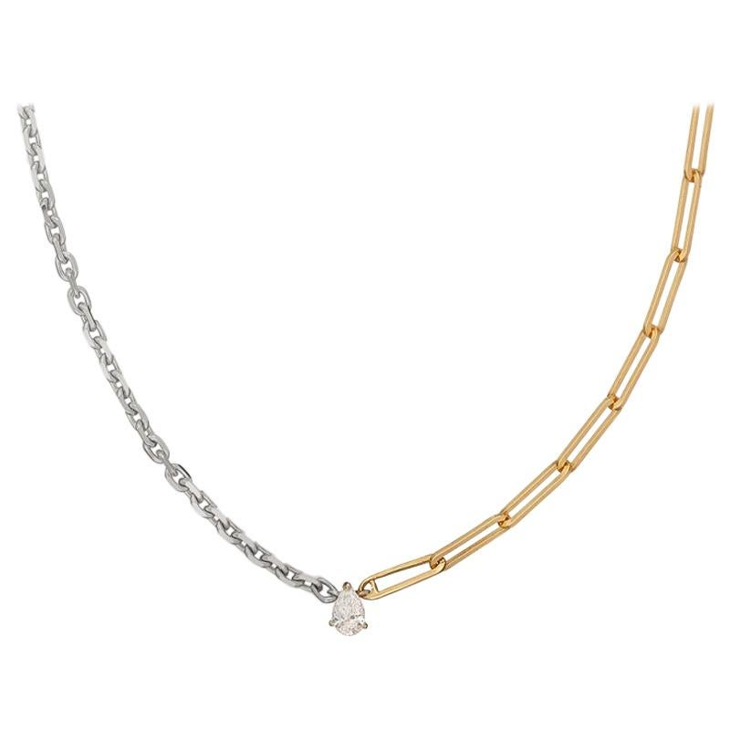 Yvonne Leon's Solitaire necklace in White and Yellow Gold 18K with Pear Diamond