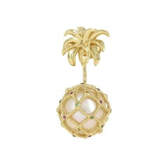 Yvonne Leon's Stud and Ear Jacket Pineapple in 18k Gold & Multicolored Sapphires